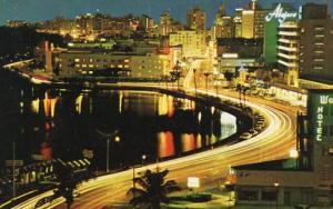 FL - Miami Beach, Lake Pancoast, Collins Avenue at night