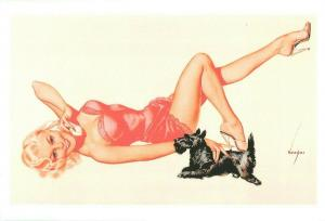Repro postcard pinup pin up beauty & dog telephone