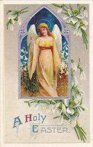Easter Greetings Angel With Easter Lilies