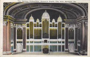 The Herman Kotzschmar Memorial Organ,City Hall, Portland,Maine,PU-1920