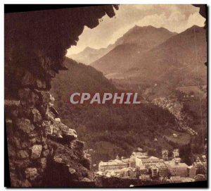 Old Postcard Cauterets viewed from the interior of a cabin in ruins Roman Baths