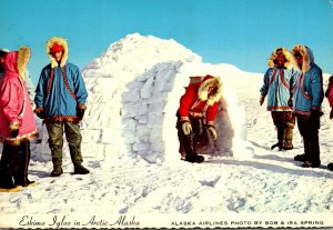 Alaska Eskimo Igloo In Arctic Alaska 1973 Alaska Airlines Photo