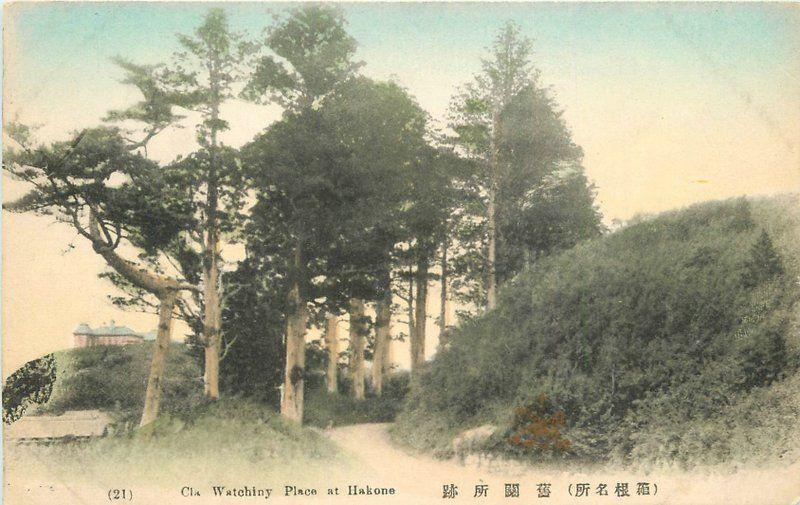 C-1910 Watchley Place Hakone hand colored Japan postcard 5724