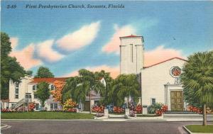Sarasota Florida~First Presbyterian Church~1930's Postcard