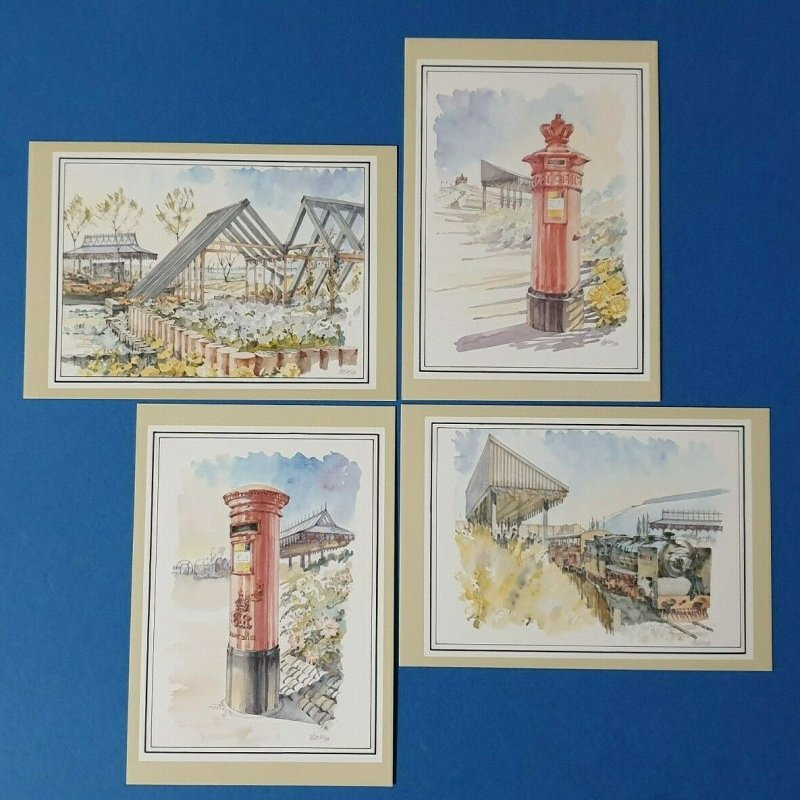 Set of 4 Art Postcard, The Post Office at the Garden Festival 1984 Liverpool BU1