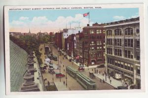 P951 old card very busy boylston street scene trollies old cars etc boston mass