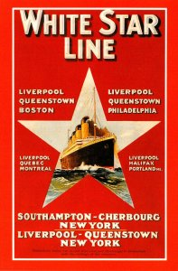 Advertisiong Cunard Line White Star Line Marine Art Poster Collection