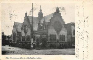 Battle Creek Michigan~First Presbyterian Church Corner~1906 B&W Postcard