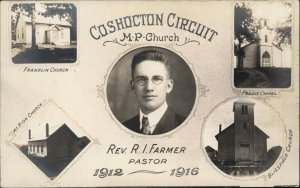 Coshocton OH Circuit Pastor Farmer Franklin MP Church Real Photo Postcard