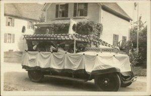 Hillsboro NH (Written on Back) Parade Truck Boynton's Market c1920 RPPC