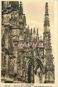 Postcard Old 43 louviers details of the church facade gargoyles