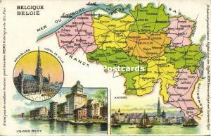 Belgium Belgique België MAP Postcard (1910s) Remy Paste Edition