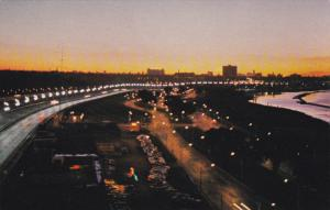 Lakeshore Blvd and Lake Ontario, Dawn Breaks over Toronto Skyline, Toronto, O...