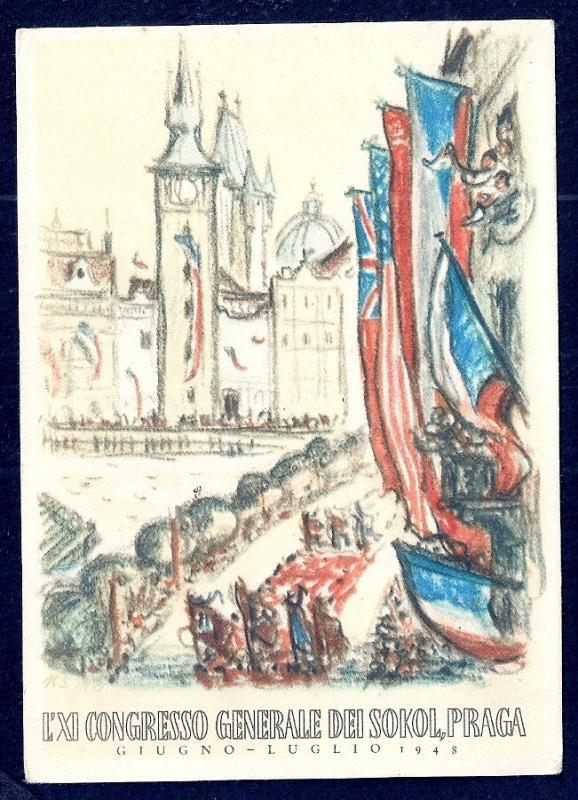 11th General Sokol Congress Prague Flags unused c1948