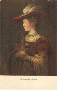 Rembrandt  Saskia Fine part, painting, vintage German postcard