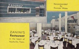 NASHVILLE , Tennessee, 1930-40s ; Zanini's Restaurant