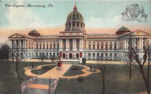 Harrisburg Pennsylvania~Capitol~Monument in Center~Seal in Corner~1910 Postcard