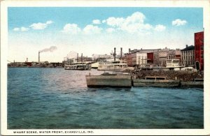 Postcard~Wharf Scene~Waterfront~Evansville, Indiana~Ships~Teich~A16