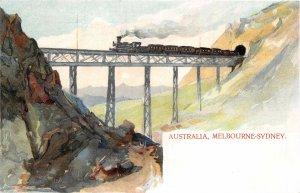 uk41880 melbourne sidney australia litho railway train