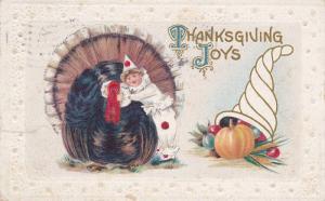 Thanksgiving Joys, Clown child hugging wild turkey, Cornicopia, PU-1911