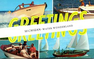 Michigan Greetings From Water Wonderland Boating Scenes