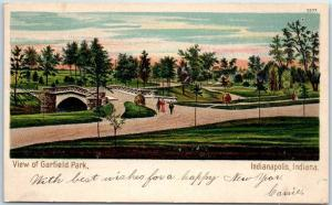 Indianapolis, Indiana Postcard View of Garfield Park w/ 1904 IN Cancel