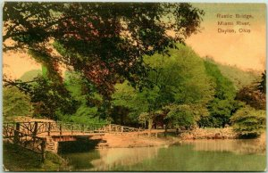 Dayton, Ohio Postcard Rustic Bridge, Miami River Rustic Bridge / 1910 Cancel