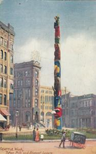 SEATTLE, Washington, PU-1908; Totem Pole and Pioneer Square, TUCK # 2671
