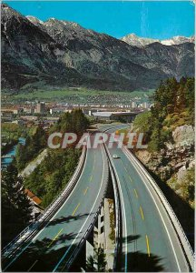 Postcard Modern Brennerautobah Blick und Nordkette Innsbruck