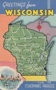 WISCONSIN Map, 30-40s; The Fisherman's Paradise