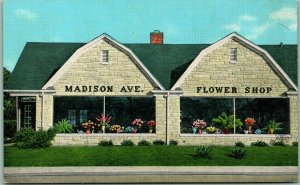 Indianapolis IN Advertising Postcard MADISON AVENUE FLOWER SHOP Linen c1940s