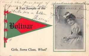 A60/ Bolivar Tennessee Tn Pennant Postcard Girls Some Class 1913