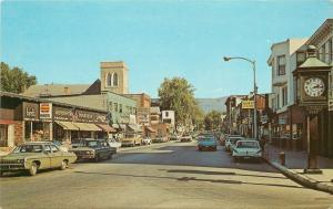 Bennington VT~FNB Bank Clock~Bird's Kodak Cameras~421 Restaurant~Church 1970s