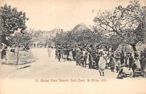 Ghana Gold Coast Market place Sekondi 1898 postcard
