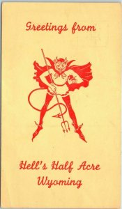 Vintage Wyoming Postcard Greetings from HELL'S HALF ACRE Devil Graphic c1950s