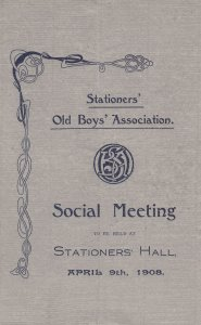 Stationers Old Boys Association Antique 1908 Musical Hall Old Theatre Programme