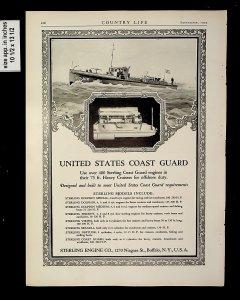 1925 United States Coast Guard Sterling Engine Cruisers Vintage Print ad 015117