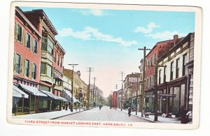 P1445 old unused postcard 3rd street view people etc harrisburg penn.