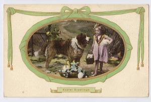 Easter Girl Large Dog Easter Eggs Vintage Postcard