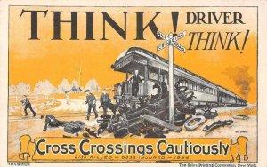 Railroad Crossing Automobile Accident Ad Public Service  Postcard AA1915