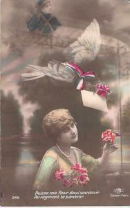 WWI French Patriotic Sweet Flower Color Tinted Vintage Postcard Used