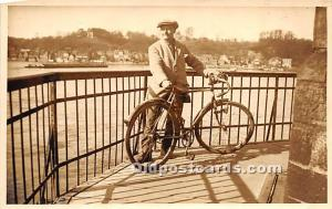 Man with bicycle Real Photo Writing on back