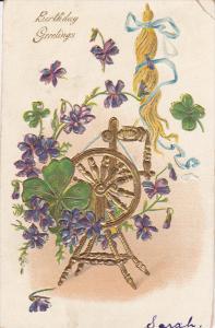 BIRTHDAY, Greetings, Gold Spinning Wheel, Violets, Shamrocks, Gold details, P...