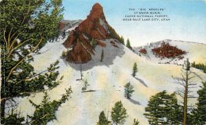 Linen Postcard Big Needles at Snow Basin Cache Nat'l Forest by Salt Lake City UT