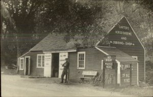 Byfield MA Horse Shoeing & Jobbing Shop Blacksmith? c1910 Real Photo Postcard