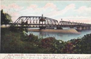 Illinois Rock Island Goverurnent Bridge Across The Mississippi River