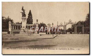 Old Postcard Lyon L & # 39Entree of Tete Park d & # 39Or and the Monument to ...