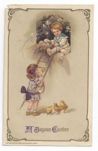 Winsch Easter Postcard Children Boy Girl Eggs Chicks Vintage