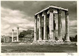 Greece - Athens, Olympieion and Acropolis *RPPC
