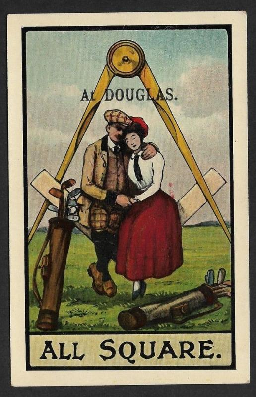 MASONRY : All Square at Douglas vintage postcard